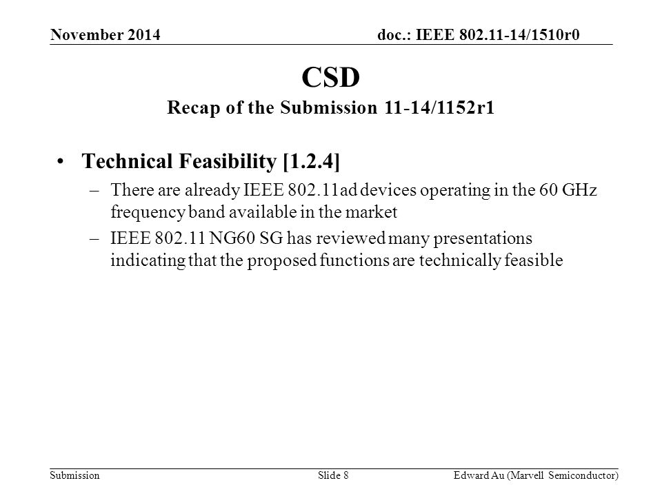 doc.: IEEE 802.11-14/1510r0 Submission Technical Feasibility [1.2.4] –There are already IEEE 802.11ad devices operating in the 60 GHz frequency band a