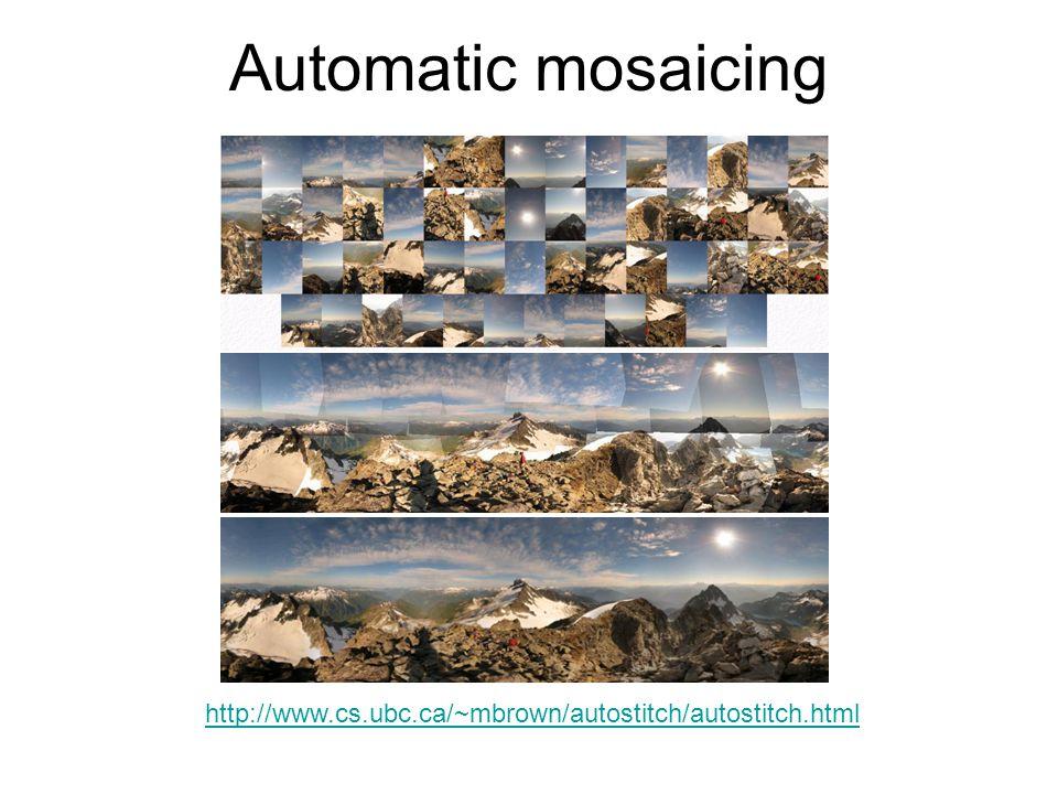 Automatic mosaicing http://www.cs.ubc.ca/~mbrown/autostitch/autostitch.html