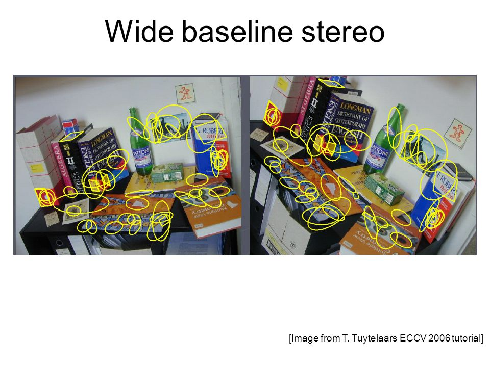Wide baseline stereo [Image from T. Tuytelaars ECCV 2006 tutorial]