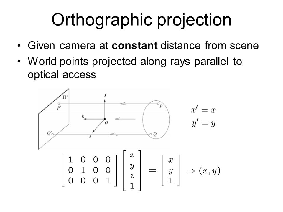 Orthographic projection Given camera at constant distance from scene World points projected along rays parallel to optical access