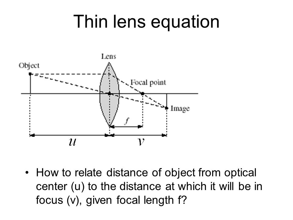 Thin lens equation How to relate distance of object from optical center (u) to the distance at which it will be in focus (v), given focal length f