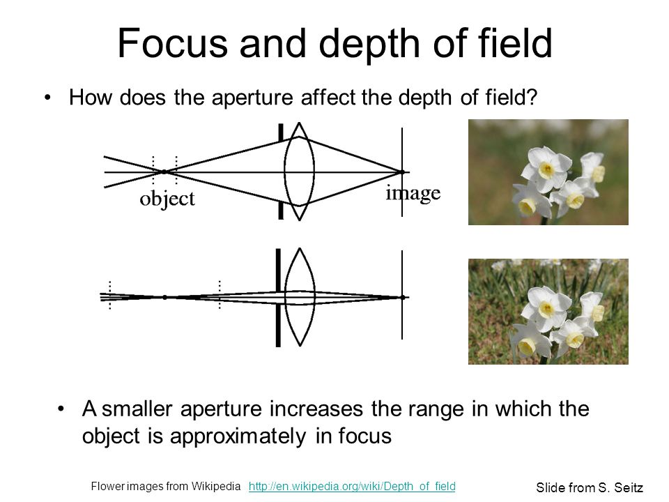 Focus and depth of field How does the aperture affect the depth of field.