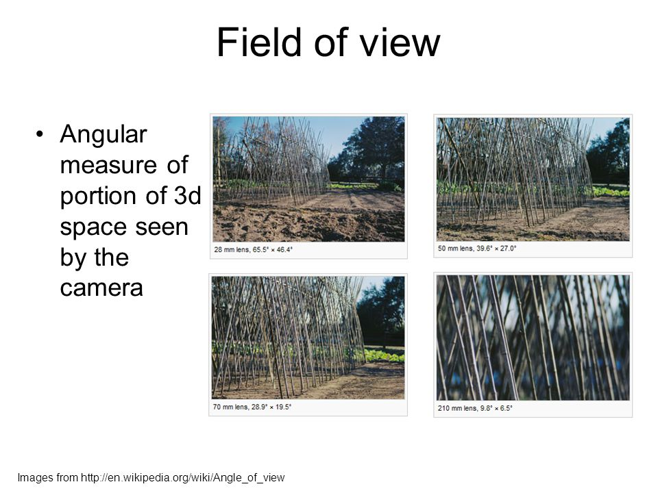 Field of view Angular measure of portion of 3d space seen by the camera Images from http://en.wikipedia.org/wiki/Angle_of_view