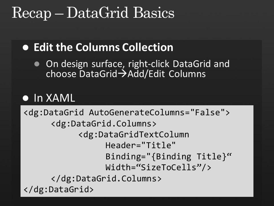 <dg:DataGridTextColumn Header= Title Binding= {Binding Title} Width= SizeToCells />