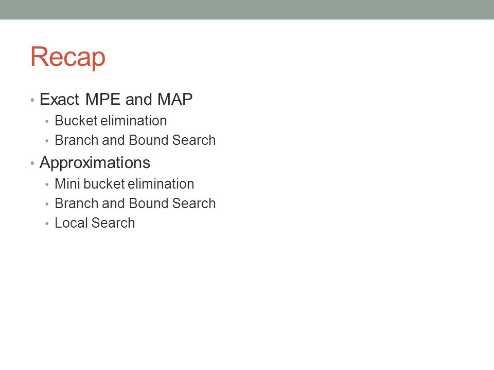 Recap Exact MPE and MAP Bucket elimination Branch and Bound Search Approximations Mini bucket elimination Branch and Bound Search Local Search