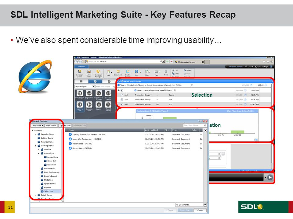 11 We've also spent considerable time improving usability… SDL Intelligent Marketing Suite - Key Features Recap Selection Visualisation Export