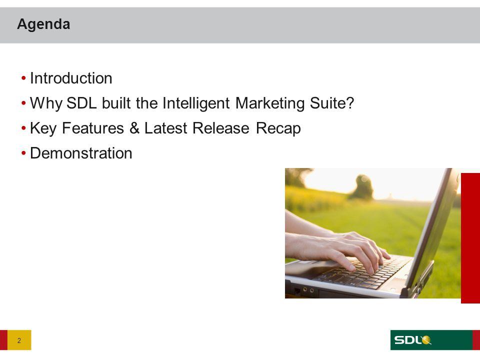 Introduction Why SDL built the Intelligent Marketing Suite? Key Features & Latest Release Recap Demonstration Agenda 2