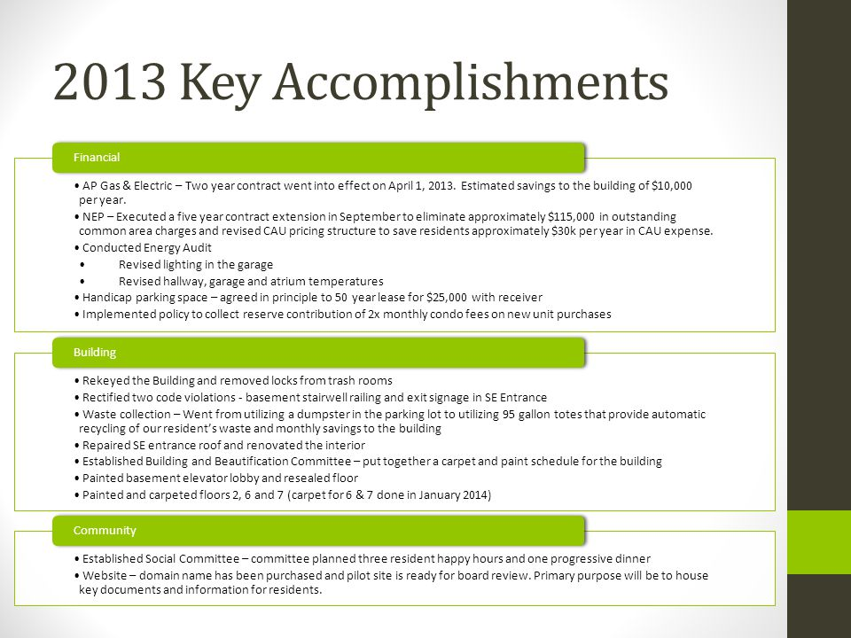 2013 Key Accomplishments AP Gas & Electric – Two year contract went into effect on April 1, 2013.