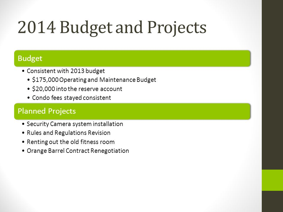 2014 Budget and Projects Budget Consistent with 2013 budget $175,000 Operating and Maintenance Budget $20,000 into the reserve account Condo fees stayed consistent Planned Projects Security Camera system installation Rules and Regulations Revision Renting out the old fitness room Orange Barrel Contract Renegotiation