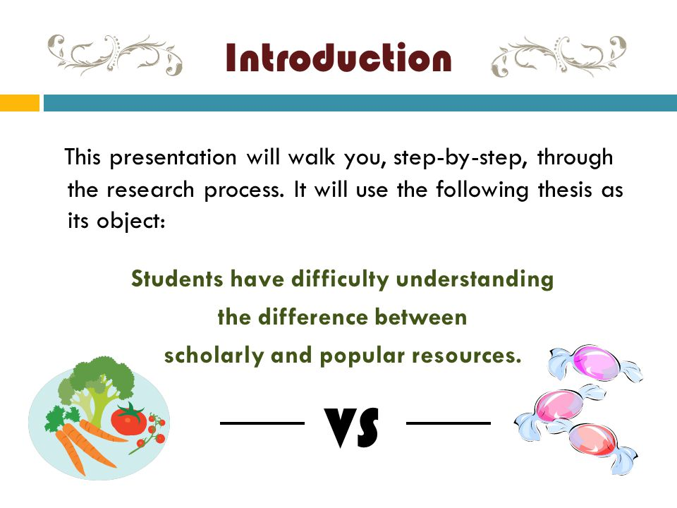 Introduction This presentation will walk you, step-by-step, through the research process. It will use the following thesis as its object: Students hav