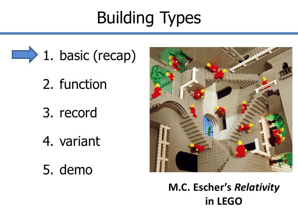 Building Types 1.basic (recap) 2.function 3.record 4.variant 5.demo M.C.