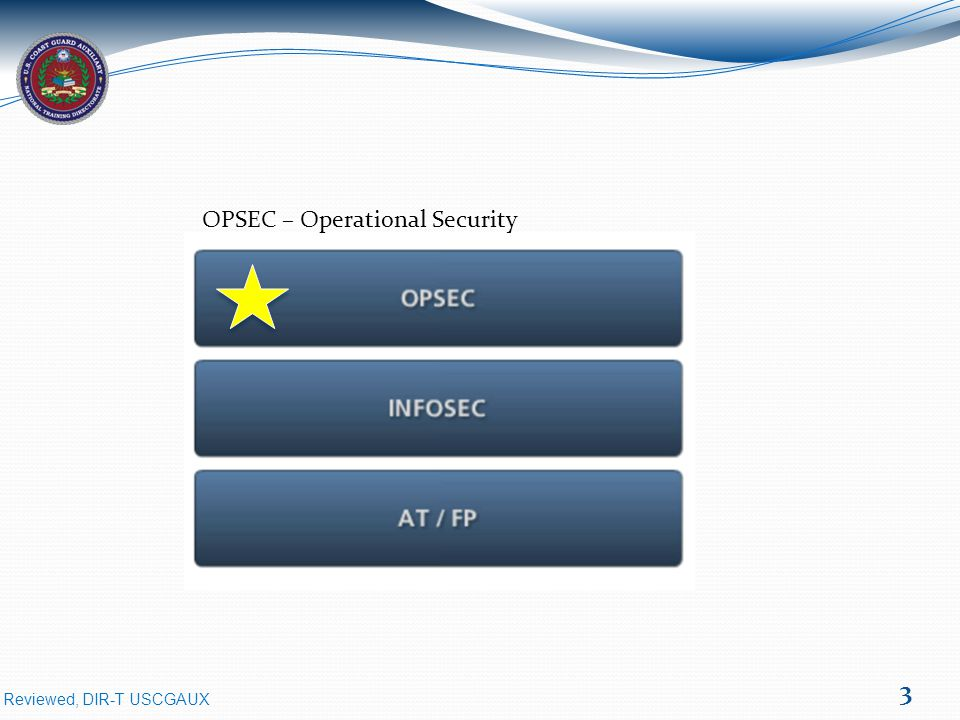 Reviewed, DIR-T USCGAUX 4 OPSEC – Operations Security