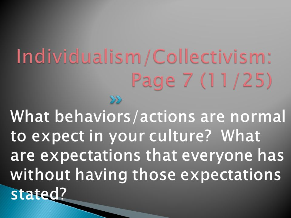 What behaviors/actions are normal to expect in your culture.
