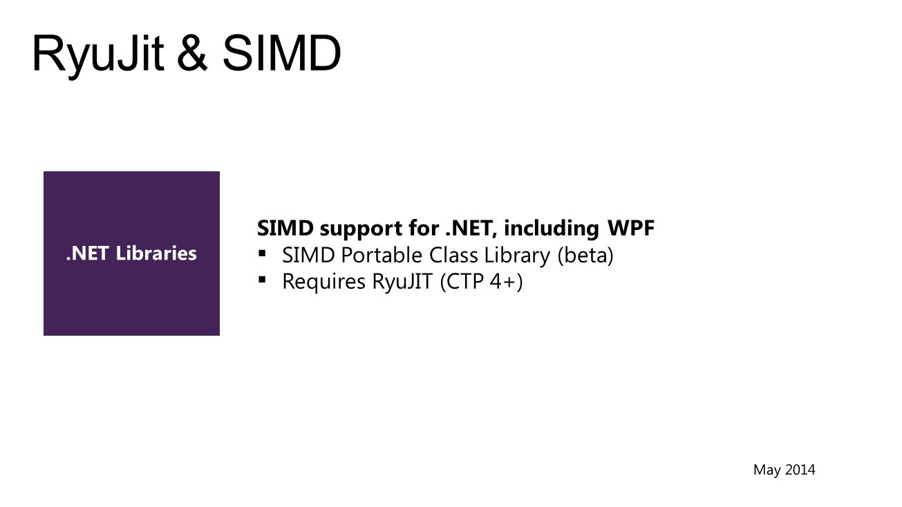 SIMD support for.NET, including WPF  SIMD Portable Class Library (beta)  Requires RyuJIT (CTP 4+)