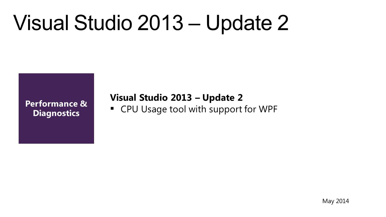 Visual Studio 2013 – Update 2  CPU Usage tool with support for WPF
