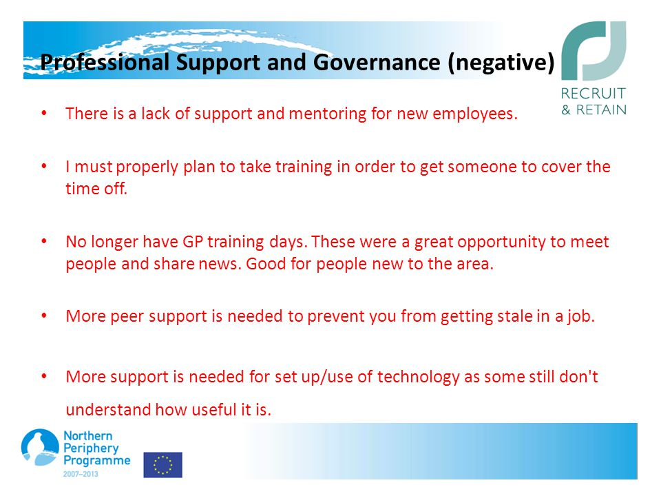 Professional Support and Governance (negative) There is a lack of support and mentoring for new employees.