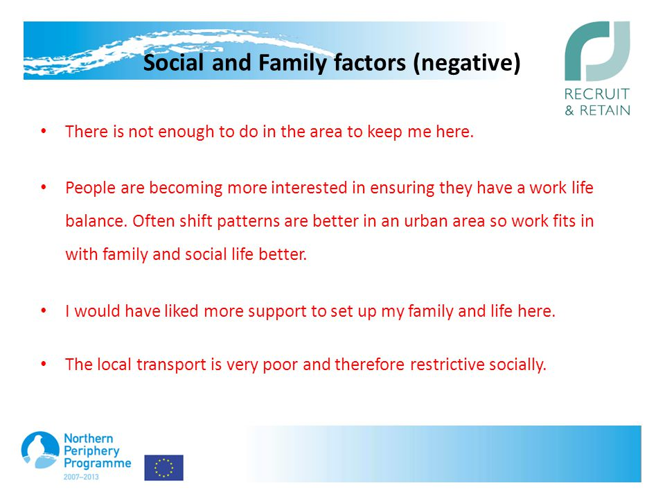 Social and Family factors (negative) There is not enough to do in the area to keep me here.