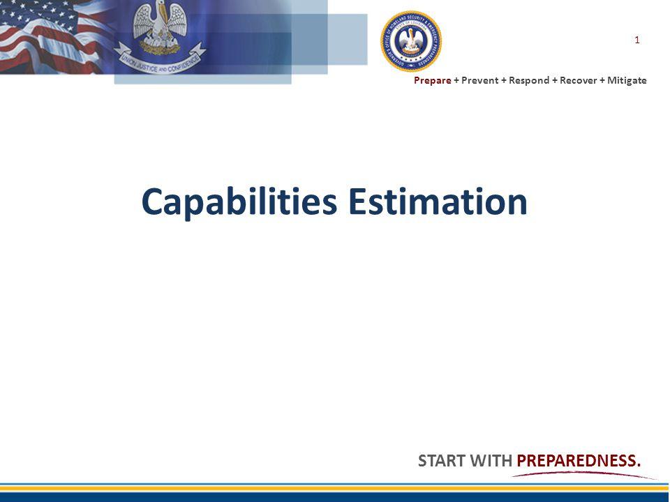 Prepare + Prevent + Respond + Recover + Mitigate START WITH PREPAREDNESS. Capabilities Estimation 1
