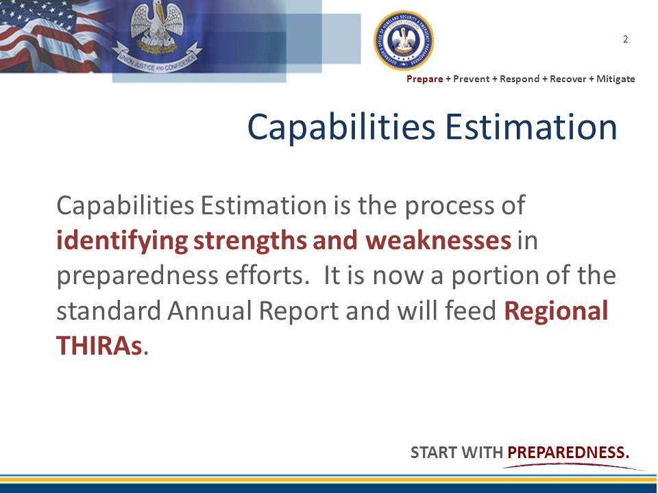 Prepare + Prevent + Respond + Recover + Mitigate START WITH PREPAREDNESS. Capabilities Estimation Capabilities Estimation is the process of identifyin