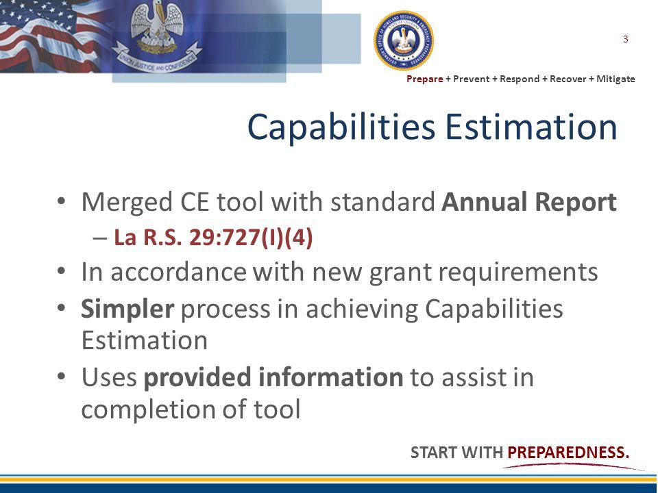 Prepare + Prevent + Respond + Recover + Mitigate START WITH PREPAREDNESS. Capabilities Estimation Merged CE tool with standard Annual Report – La R.S.