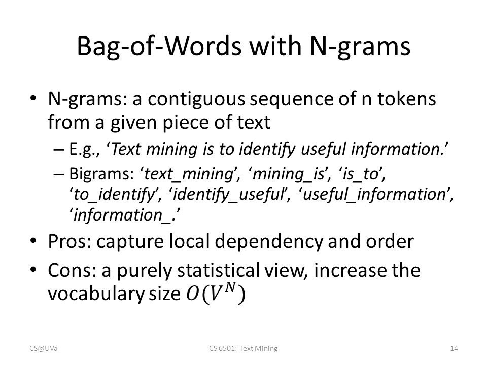 Bag-of-Words with N-grams CS@UVaCS 6501: Text Mining14