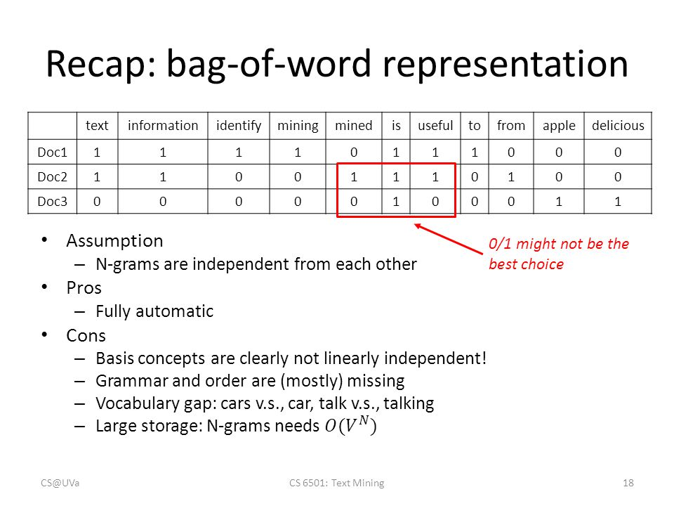 Recap: bag-of-word representation CS@UVaCS 6501: Text Mining18 textinformationidentifyminingminedisusefultofromappledelicious Doc111110111000 Doc211001110100 Doc300000100011 0/1 might not be the best choice