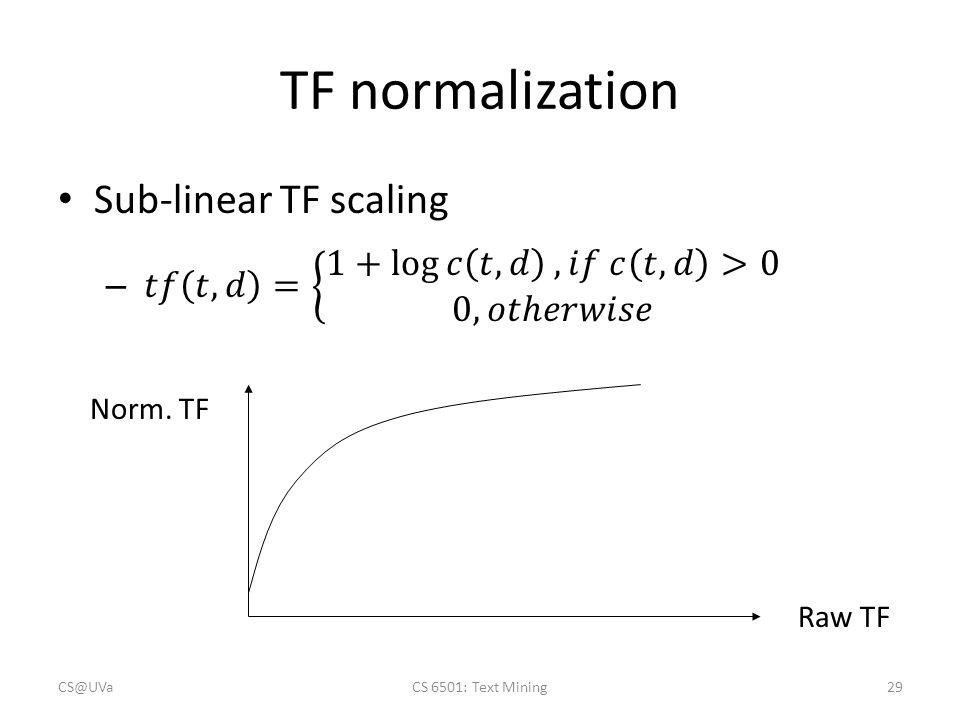 TF normalization Norm. TF Raw TF CS@UVaCS 6501: Text Mining29