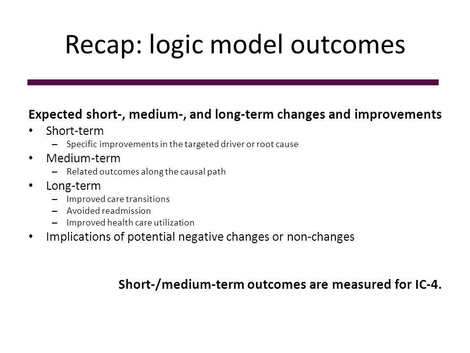 Recap: outcomes selection SMART objectives guide outcome selection.