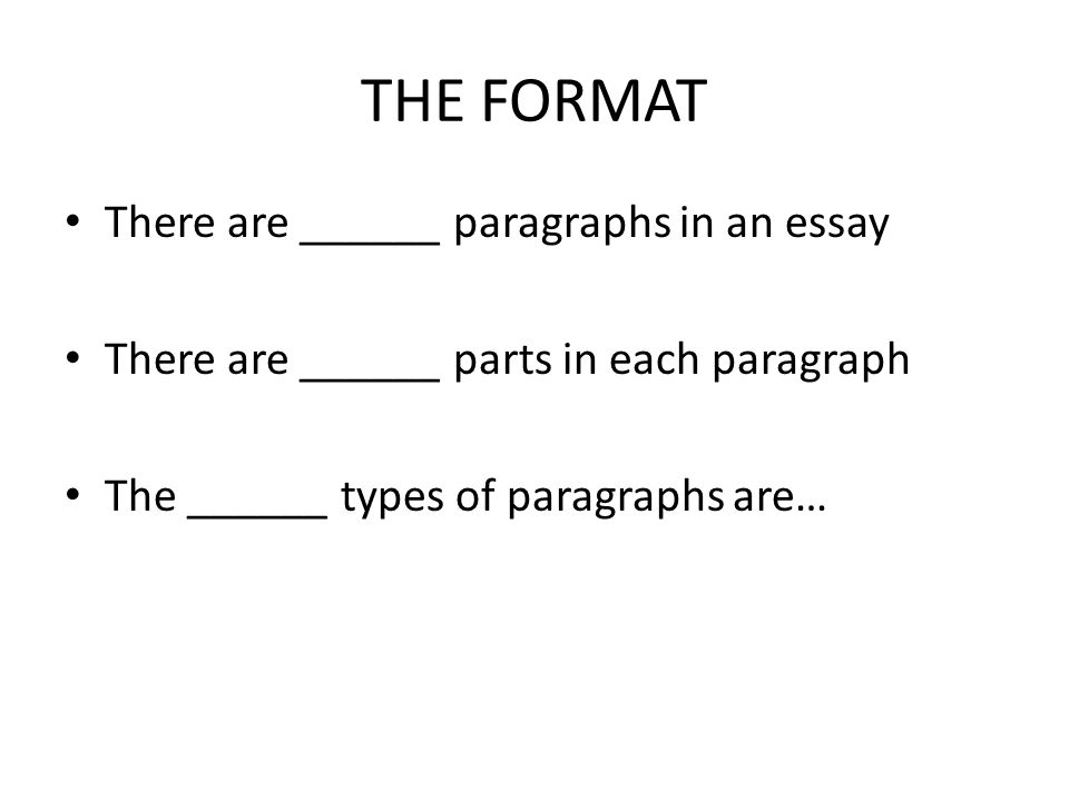 THE FORMAT There are ______ paragraphs in an essay There are ______ parts in each paragraph The ______ types of paragraphs are…