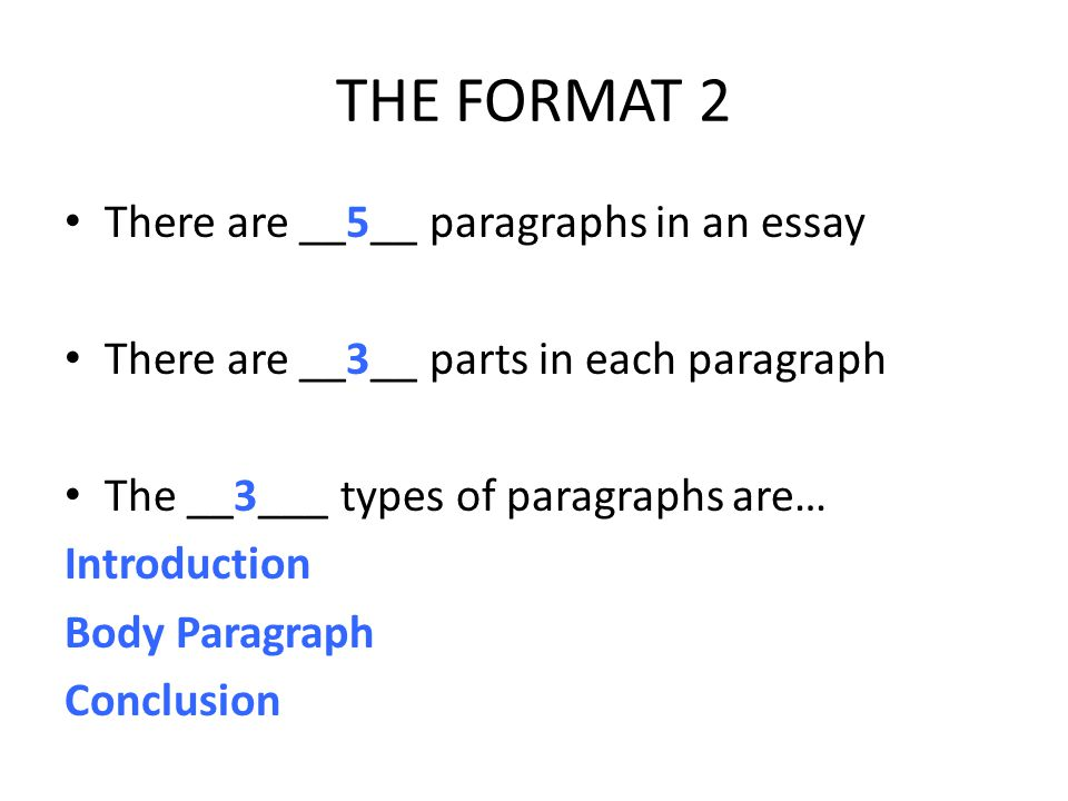 THE FORMAT 2 There are __5__ paragraphs in an essay There are __3__ parts in each paragraph The __3___ types of paragraphs are… Introduction Body Paragraph Conclusion