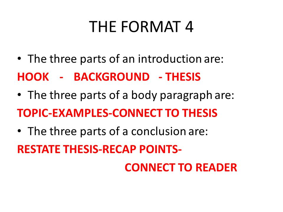 Simple Question 2: Conclusion Restate Thesis: Recap Points: Connect to Reader: