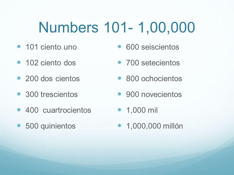 Numbers 101- 1,00,000 101 ciento uno 102 ciento dos 200 dos cientos 300 trescientos 400 cuartrocientos 500 quinientos 600 seiscientos 700 setecientos 800 ochocientos 900 novecientos 1,000 mil 1,000,000 millón