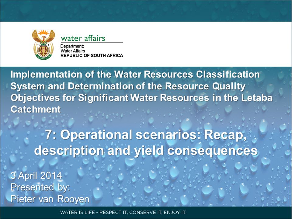 Implementation of the Water Resources Classification System and Determination of the Resource Quality Objectives for Significant Water Resources in th