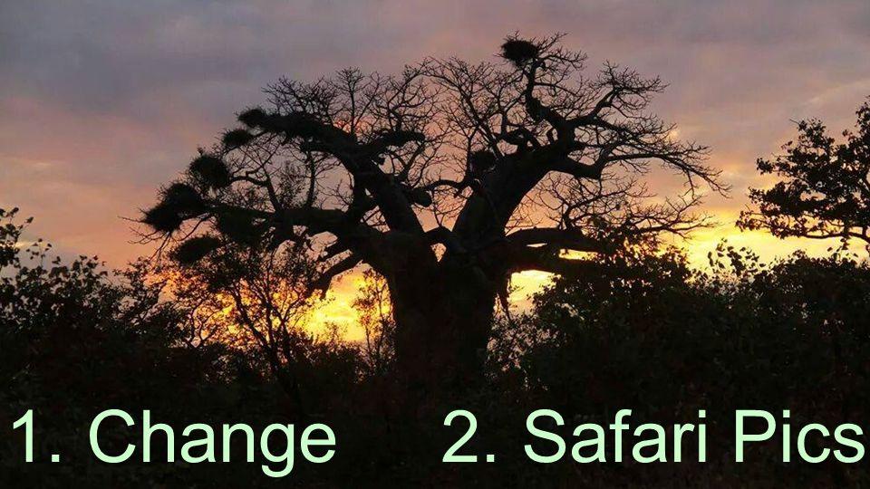 Copyright © 2014, SAS Institute Inc. All rights reserved. 1. Change 2. Safari Pics