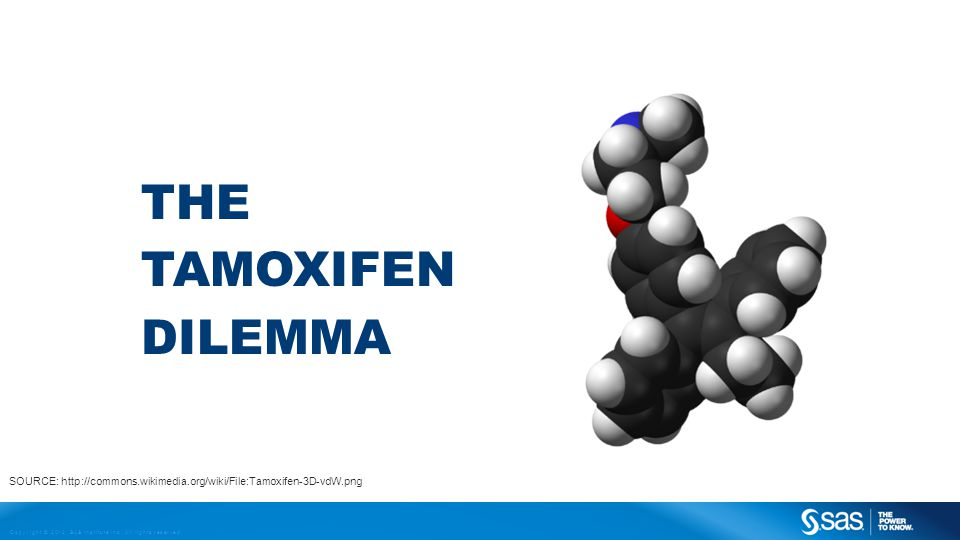 Copyright © 2012, SAS Institute Inc. All rights reserved. THE TAMOXIFEN DILEMMA SOURCE: http://commons.wikimedia.org/wiki/File:Tamoxifen-3D-vdW.png