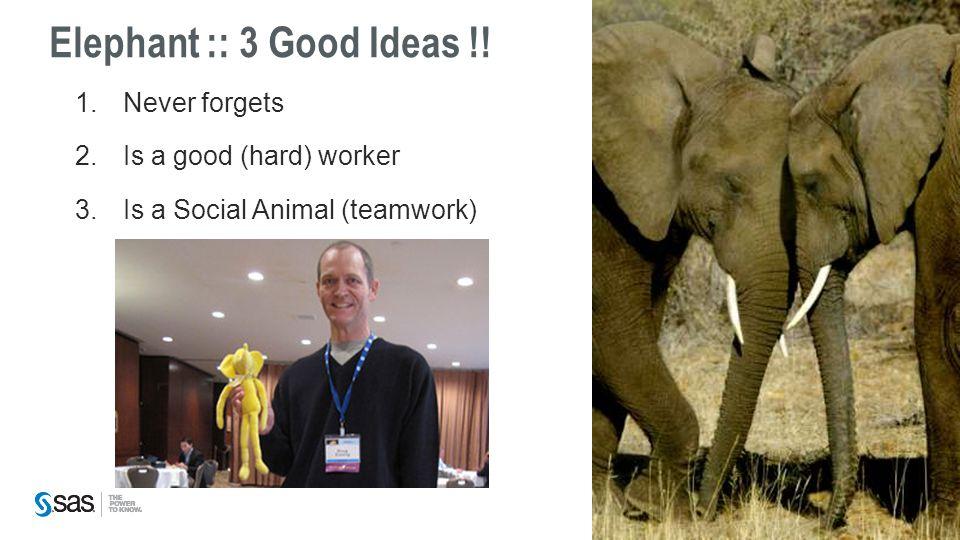 Elephant :: 3 Good Ideas !! 1.Never forgets 2.Is a good (hard) worker 3.Is a Social Animal (teamwork)