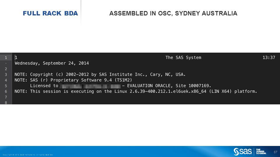 67 Copyright © 2013, SAS Institute Inc. All rights reserved. FULL RACK BDA ASSEMBLED IN OSC, SYDNEY AUSTRALIA