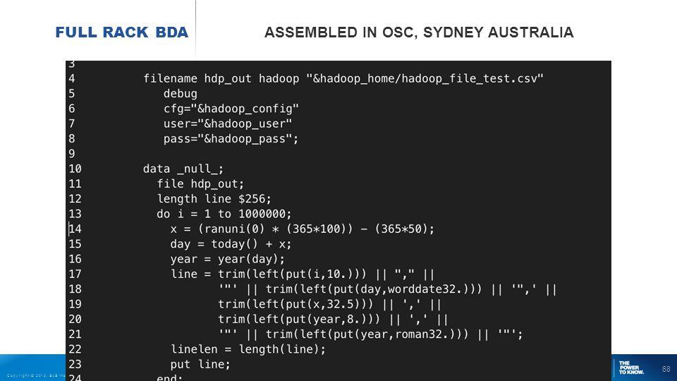 68 Copyright © 2013, SAS Institute Inc. All rights reserved. FULL RACK BDA ASSEMBLED IN OSC, SYDNEY AUSTRALIA