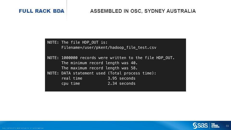 69 Copyright © 2013, SAS Institute Inc. All rights reserved. FULL RACK BDA ASSEMBLED IN OSC, SYDNEY AUSTRALIA