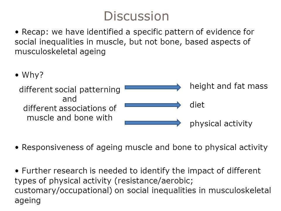 Discussion Recap: we have identified a specific pattern of evidence for social inequalities in muscle, but not bone, based aspects of musculoskeletal ageing Why.