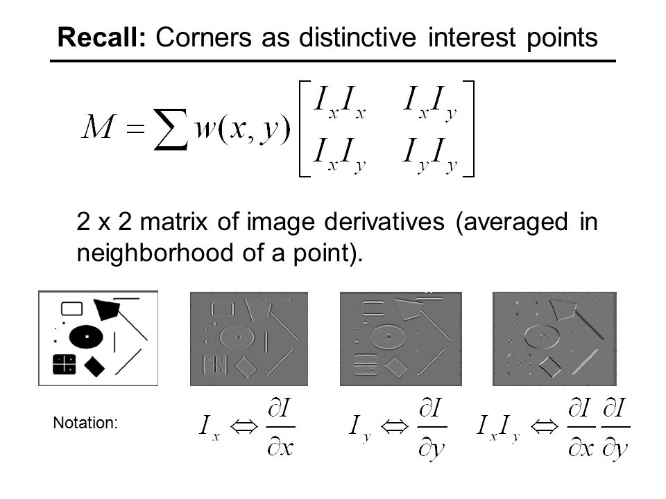 Recall: Corners as distinctive interest points 2 x 2 matrix of image derivatives (averaged in neighborhood of a point).