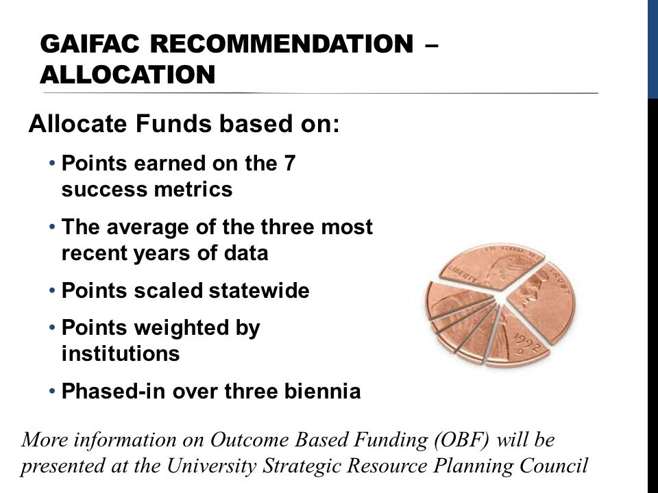 GAIFAC RECOMMENDATION – ALLOCATION Allocate Funds based on: Points earned on the 7 success metrics The average of the three most recent years of data