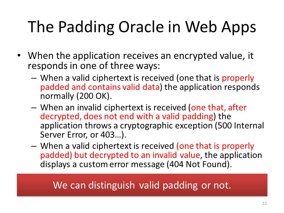 The Padding Oracle in Web Apps When the application receives an encrypted value, it responds in one of three ways: – When a valid ciphertext is received (one that is properly padded and contains valid data) the application responds normally (200 OK).