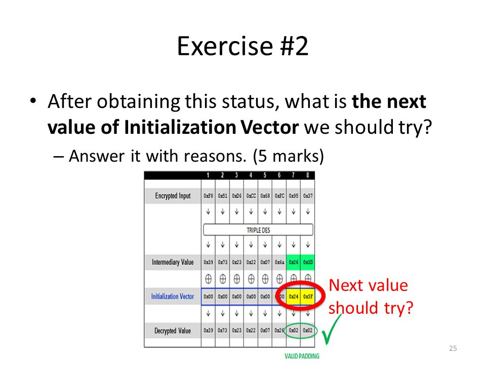Exercise #2 After obtaining this status, what is the next value of Initialization Vector we should try.