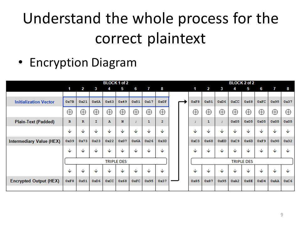 Understand the whole process for the correct plaintext Encryption Diagram 9