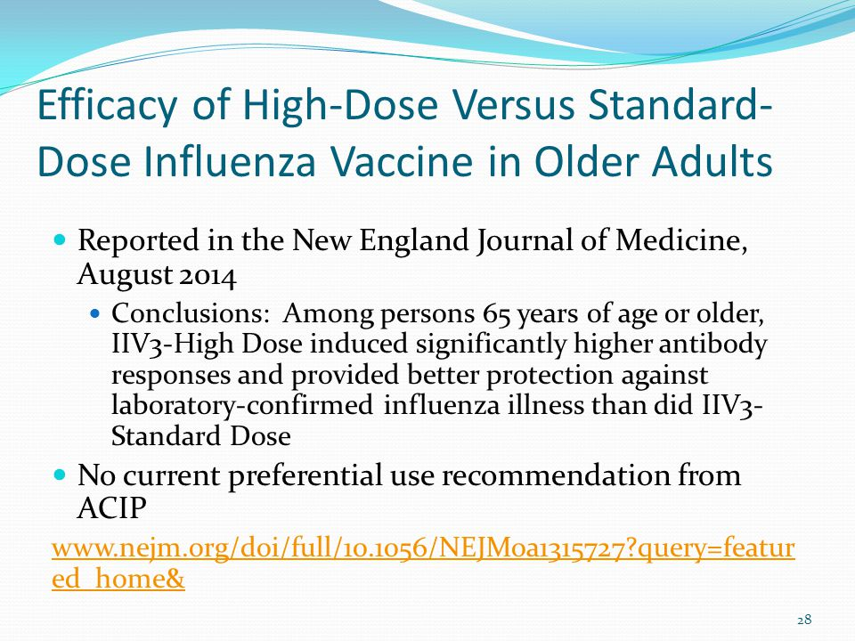 Efficacy of High-Dose Versus Standard- Dose Influenza Vaccine in Older Adults Reported in the New England Journal of Medicine, August 2014 Conclusions: Among persons 65 years of age or older, IIV3-High Dose induced significantly higher antibody responses and provided better protection against laboratory-confirmed influenza illness than did IIV3- Standard Dose No current preferential use recommendation from ACIP www.nejm.org/doi/full/10.1056/NEJMoa1315727 query=featur ed_home& 28