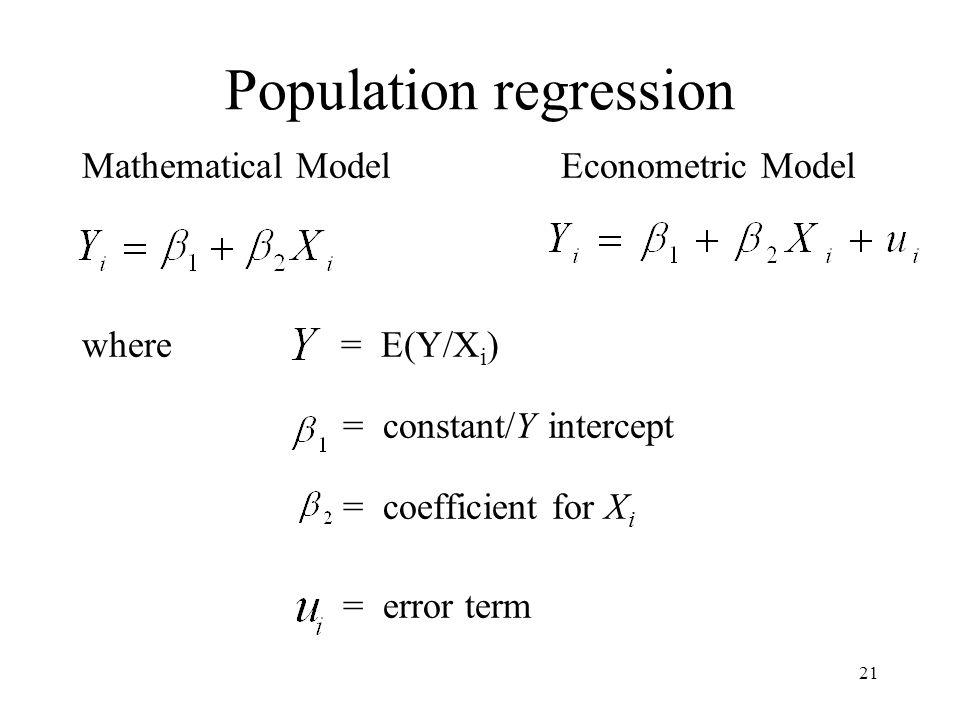 21 Population regression Mathematical Model Econometric Model where = E(Y/X i ) = constant/Y intercept = coefficient for X i = error term