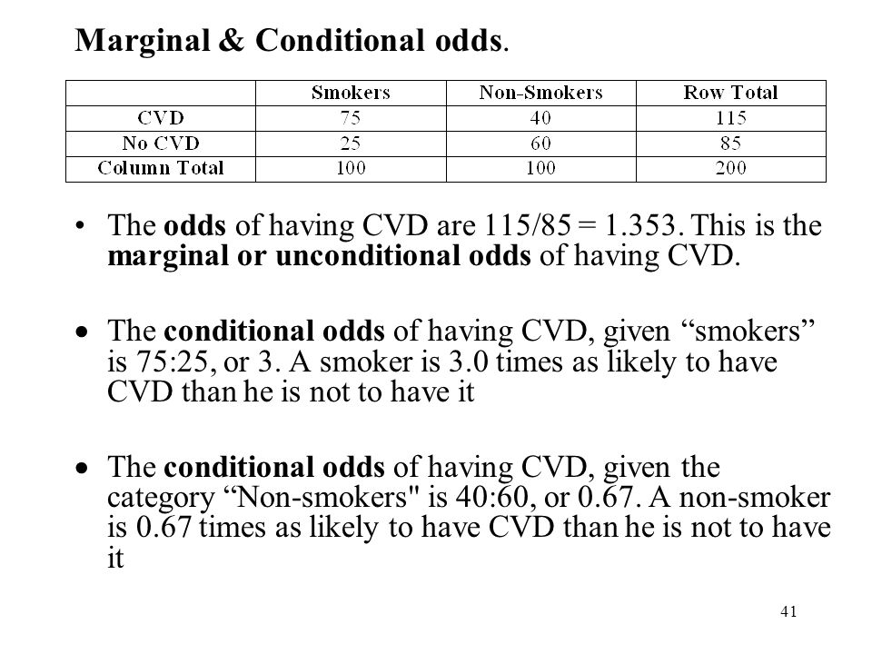 42 Probability The probability of having CVD is 115/200 = 0.575 The probability of having CVD given that one is a smoker is 75/100 = 0.75 The probability of having CVD given that one is a non-smoker is 40/100 = 0.40