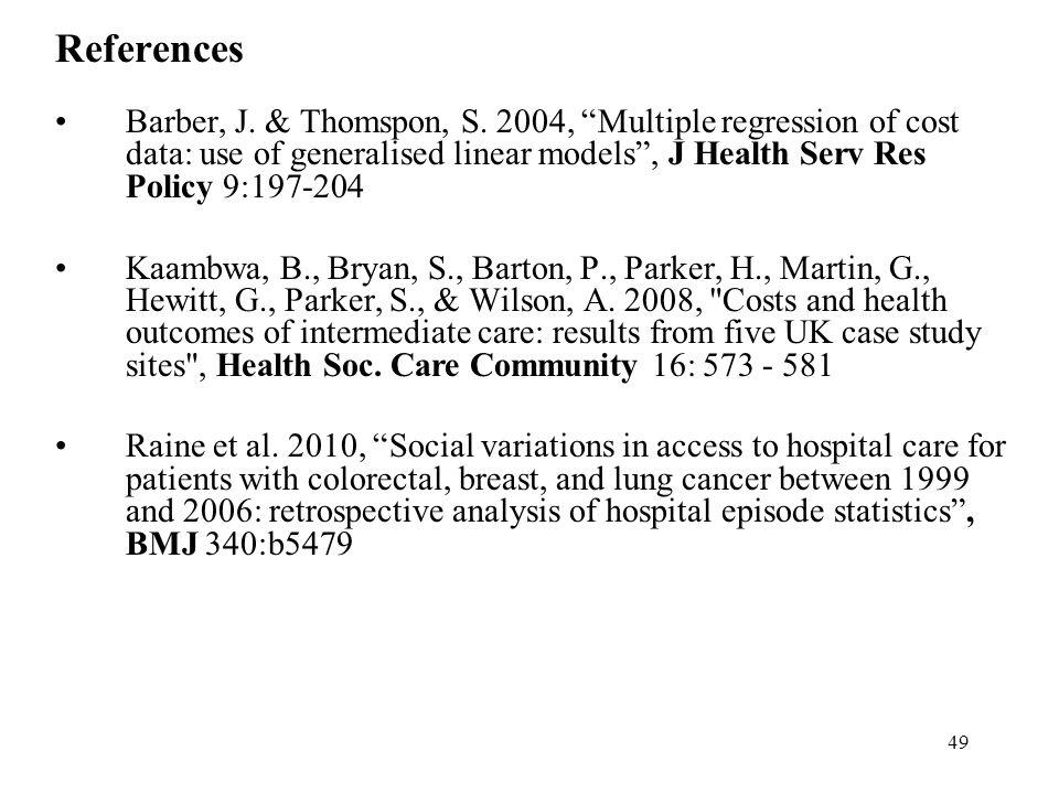 49 References Barber, J. & Thomspon, S.