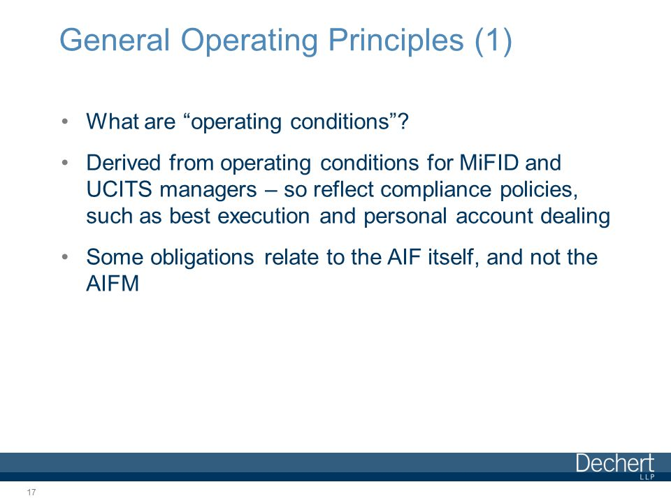 General Operating Principles (1) What are operating conditions .